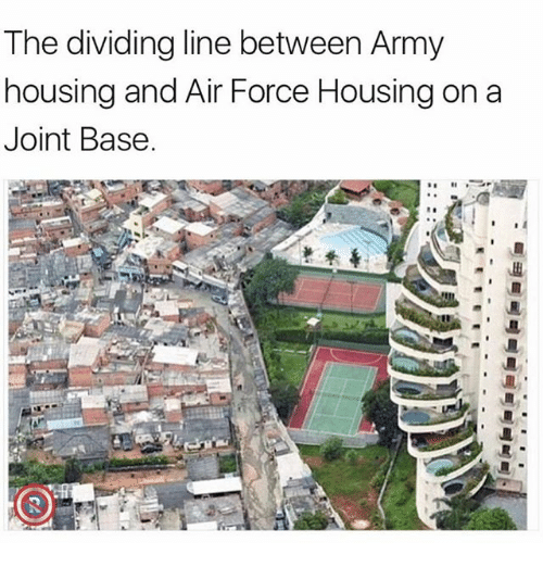 Memes, Army, and Air Force: The dividing line between Army  housing and Air Force Housing on a  Joint Base