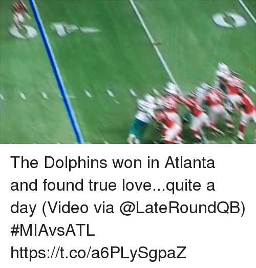 Love, Sports, and True: The Dolphins won in Atlanta and found true love...quite a day  (Video via @LateRoundQB) #MIAvsATL https://t.co/a6PLySgpaZ