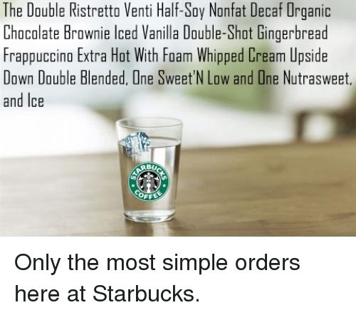The Double Ristretto Venti Half Soy Nonfat Decaf Organic