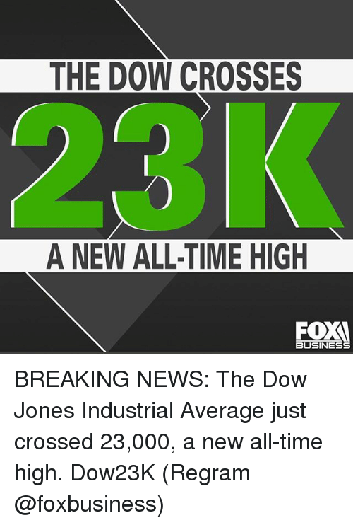 Memes, News, and Breaking News: THE DOW CROSSES  A NEW ALL-TIME HIGH  FOX  BUSINESS BREAKING NEWS: The Dow Jones Industrial Average just crossed 23,000, a new all-time high. Dow23K (Regram @foxbusiness)