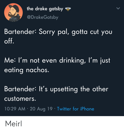 Drake, Drinking, and Iphone: the drake gatsby  @DrakeGatsby  Bartender: Sorry pal, gotta cut you  off.  Me: I'm not even drinking, l'm just  eating nachos.  Bartender: It's upsetting the other  Customers.  10:29 AM 20 Aug 19 Twitter for iPhone Meirl