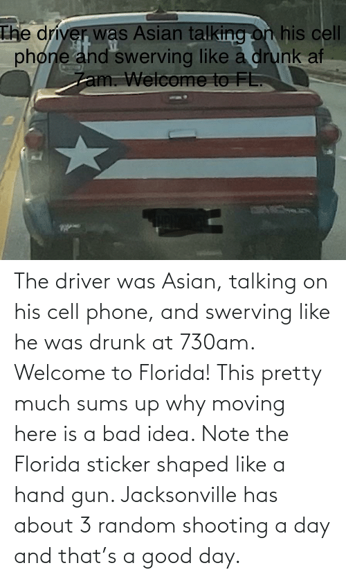 Asian, Bad, and Drunk: The driver was Asian, talking on his cell phone, and swerving like he was drunk at 730am. Welcome to Florida! This pretty much sums up why moving here is a bad idea. Note the Florida sticker shaped like a hand gun. Jacksonville has about 3 random shooting a day and that's a good day.