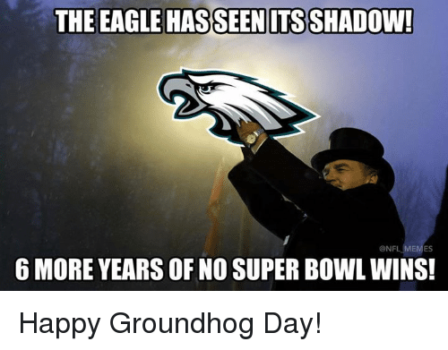 Nfl, Super Bowl, and Eagle: THE EAGLE HASSEENITS SHADOW  6 MORE YEARS OF NO SUPER BOWL WINS!  ONF  ES Happy Groundhog Day!