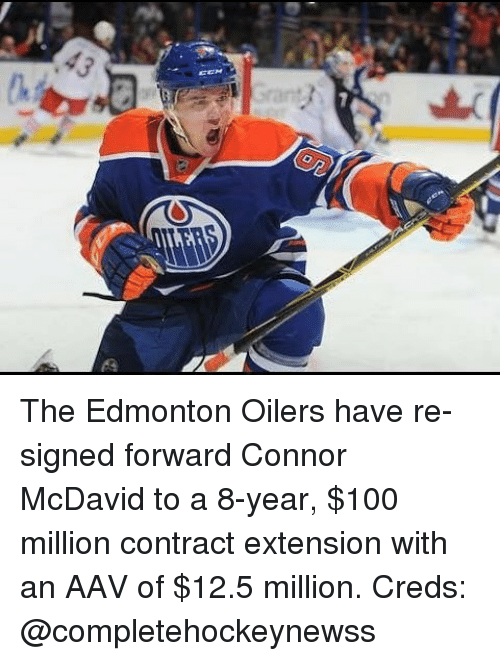 Anaconda, Memes, and 🤖: The Edmonton Oilers have re-signed forward Connor McDavid to a 8-year, $100 million contract extension with an AAV of $12.5 million. Creds: @completehockeynewss