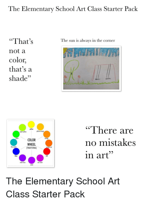 The Elementary School Art Class Starter Pack That S Not A Color