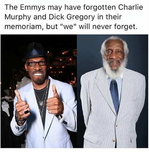"Charlie, Charlie Murphy, and Memes: The Emmys may have forgotten Charlie  Murphy and Dick Gregory in their  memoriam, but ""we"" will never forget."