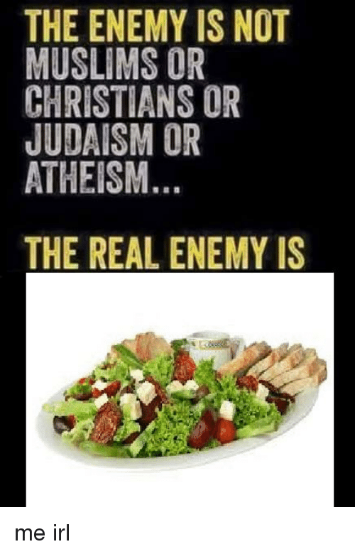 The Real, Atheism, and Irl: THE ENEMY IS NOT  MUSLIMS OR  CHRISTIANS OR  JUDAISM OR  ATHEISM.  THE REAL ENEMY IS