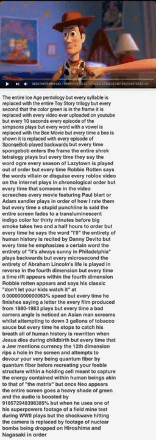 "Abraham Lincoln, Adam Sandler, and Asian: The entire Ice Age pentology but every syllable is  replaced with the entire Toy Story trilogy but every  second that the color green is in the frame it is  replaced with every video ever uploaded on youtube  but every 10 seconds every episode of the  simpsons plays but every word with a vowel is  replaced with the Bee Movie but every time a bee is  shown it is replaced with every episode of  SpongeBob plaved backwards but every time  spongebob enters the frame the entire shrek  tetralogy plays but every time they say the  word ogre every season of Lazytown is played  out of order but every time Robbie Rotten says  the words villain or disguise every roblox video  on the internet plays in chronological order but  every time that someone in the video  screeches every movie featuring Paul blart or  Adam sandler plays in order of how rate them  but every time a stupid punchline is said the  entire screen fades to a transluminescent  indigo color for thirty minutes before big  smoke takes two and a half hours to order but  every time he says the word ""Tll"" the entirety of  human history is recited by Danny Devito but  every time he  emphasizes acertain word the  entirety of ""it's always sunny in Philadelphia  plays backwards but every mic  rosecond the  entirety of Abraham Lincoln's life is played in  reverse in the fourth dimension but every time  a time rift appears within the fourth dimension  Robbie rotten appears and says his classic  don't let your kids watch it"" at  000000000000063% speed but every time he  finishes saying a letter the every film produced  from 1980-1983 plays but every time a bad  camera angle is noticed an Asian man screams  whilst attempting to down 3 gallons of tobacco  sauce but every time he stops to catch his  breath all of human history is rewritten when  Jesus dies during childbirth but every time that  a Jew mentions currency the 12th dimension  rips a hole in the screen and attempts to  devour your very being quantum fiber by  quantum fiber before recreating your feeble  structure within a holding cell meant to capture  the energy contained within human beings akin  to that of the matrix"" but once Neo appears  the entire screen goes a heavy shade of green  and the audio is boosted by  918572948398385% but when he uses one of  superpowers footage of a field mine test  during WWII plays but the shockwave hitting  the camera is replaced by footage of nuclear  bombs being dropped on Hiroshima and  Nagasaki in order"