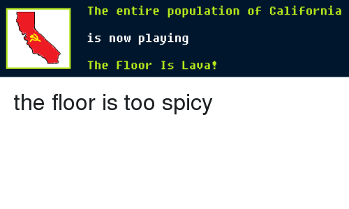 California, Dank Memes, and Spicy: The entire population of California  is now playing  The Floor 1s Lava