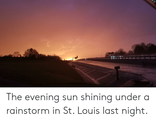 St Louis, Sun, and Shining: The evening sun shining under a rainstorm in St. Louis last night.