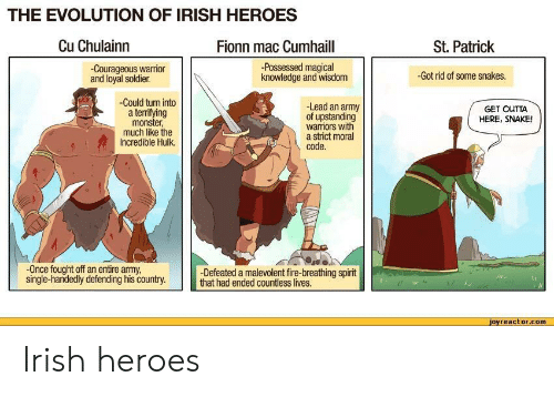 The Evolution Of Irish Heroes Cu Chulainn Fionn Mac Cumhaill St