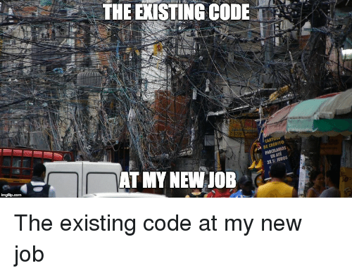 Job, Code, and New: THE EXISTING CODE'.'  DE CRED  S/ JUROS  AT MY NEW JOB The existing code at my new job
