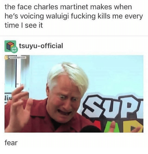 Fucking, Ironic, and Time: the face charles martinet makes when  he's voicing waluigi fucking kills me every  time l see it  tsuyu-official  SUP  is  fear