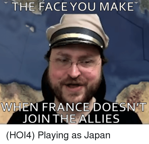 France, Japan, and Face: THE FACE YOU MAKE  WHEN FRANCE DOESN'T  JOIN THE ALLIES