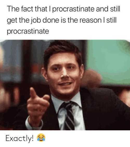 Reason, Job, and Still: The fact that I procrastinate and still  get the job done is the reason I still  procrastinate Exactly! 😂