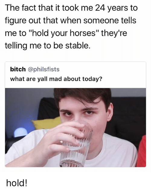 """Bitch, Horses, and Today: The fact that it took me 24 years to  figure out that when someone tells  me to """"hold your horses"""" they're  telling me to be stable.  bitch @philsfists  what are yall mad about today? hold!"""