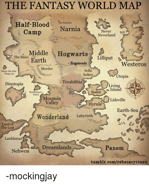 The Fantasy World Map The Wardrobe Half Blood Narnia Camp Never