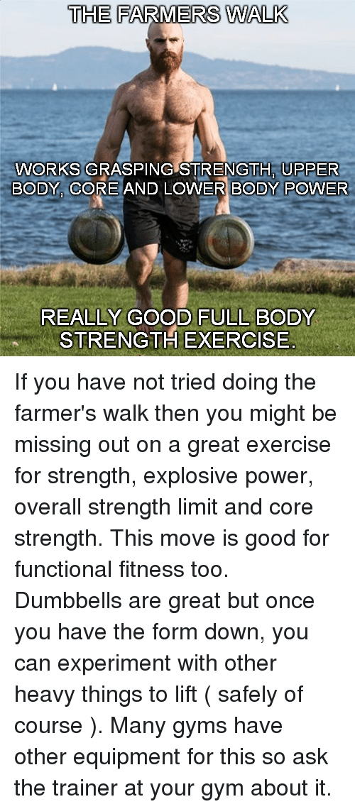 The FARMERS WALK WORKS GRASPING STRENGTH UPPER BODY CORE AND