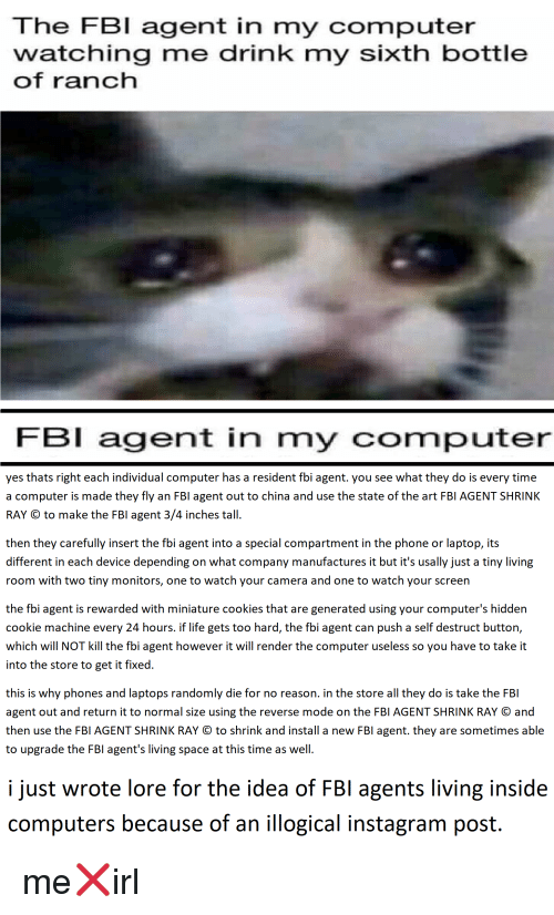 The FBI Agent in My Computer Watching Me Drink My Sixth