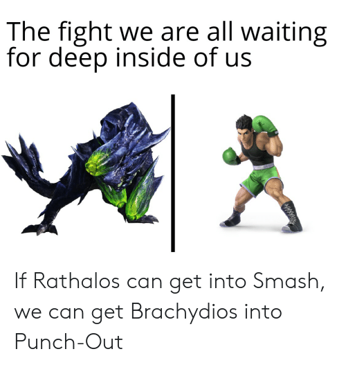Smashing, Waiting..., and Fight: The fight we are all waiting  for deep inside of us If Rathalos can get into Smash, we can get Brachydios into Punch-Out