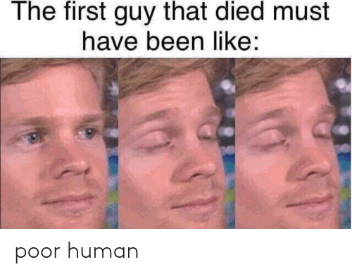 Been, Human, and First: The first guy that died must  have been like poor human
