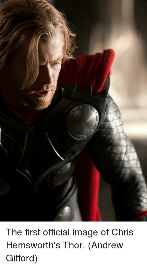 Memes, Image, and Thor: The first official image of Chris Hemsworth's Thor.  (Andrew Gifford)