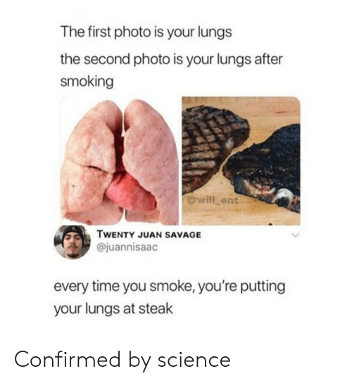 Funny, Savage, and Smoking: The first photo is your lungs  the second photo is your lungs after  smoking  @will_ent  TWENTY JUAN SAVAGE  @juannisaac  every time you smoke, you're putting  your lungs at steak Confirmed by science