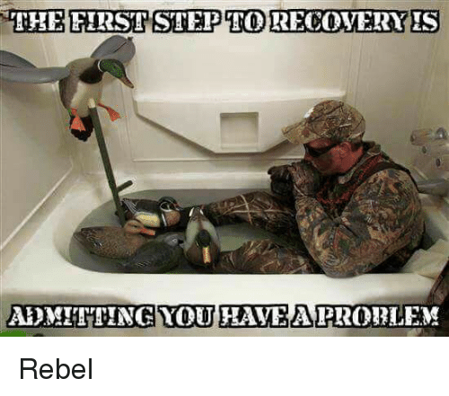 the first step cato recovery is admitting you havea problem rebel