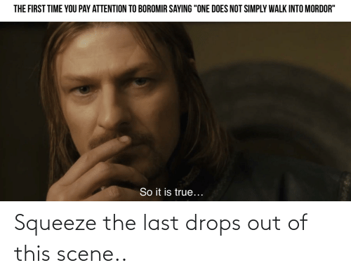 """True, Lord of the Rings, and Time: THE FIRST TIME YOU PAY ATTENTION TO BOROMIR SAYING """"ONE DOES NOT SIMPLY WALK INTO MORDOR""""  So it is true... Squeeze the last drops out of this scene.."""