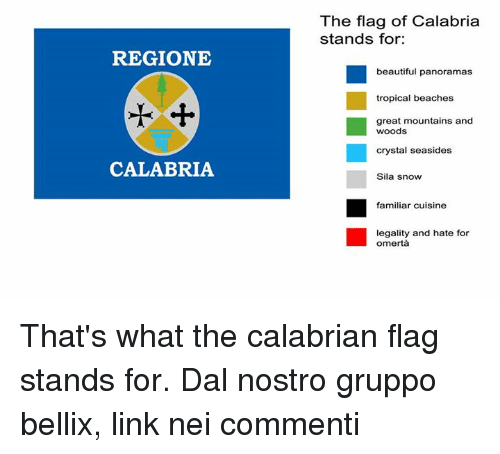 Beautiful, Dank, and Link: The flag of Calabria  stands for:  REGIONE  beautiful panoramas  tropical beaches  great mountains and  crystal seasides  Sila snow  CALABRIA  familiar cuisine  legality and hate for  omertà That's what the calabrian flag stands for.  Dal nostro gruppo bellix, link nei commenti