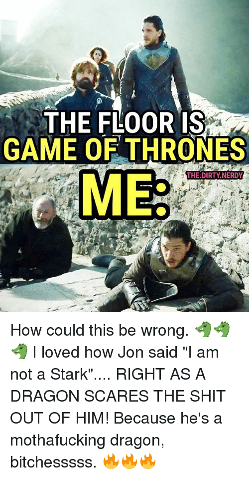 "Game of Thrones, Memes, and Shit: THE FLOOR IS  GAME OF THRONES  THE DIRTY,NERDY  ME How could this be wrong. 🐲🐲🐲 I loved how Jon said ""I am not a Stark"".... RIGHT AS A DRAGON SCARES THE SHIT OUT OF HIM! Because he's a mothafucking dragon, bitchesssss. 🔥🔥🔥"