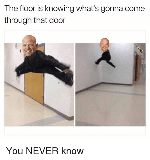 Dank Memes, Never, and Doors: The floor is knowing what's gonna come  through that door You NEVER know