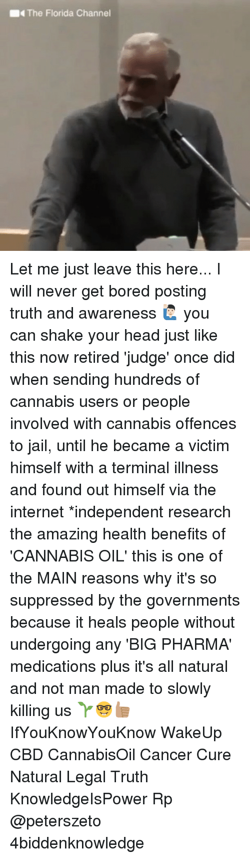 Bored, Head, and Internet: The Florida Channel Let me just leave this here... I will never get bored posting truth and awareness 🙋🏻‍♂️ you can shake your head just like this now retired 'judge' once did when sending hundreds of cannabis users or people involved with cannabis offences to jail, until he became a victim himself with a terminal illness and found out himself via the internet *independent research the amazing health benefits of 'CANNABIS OIL' this is one of the MAIN reasons why it's so suppressed by the governments because it heals people without undergoing any 'BIG PHARMA' medications plus it's all natural and not man made to slowly killing us 🌱🤓👍🏽 IfYouKnowYouKnow WakeUp CBD CannabisOil Cancer Cure Natural Legal Truth KnowledgeIsPower Rp @peterszeto 4biddenknowledge