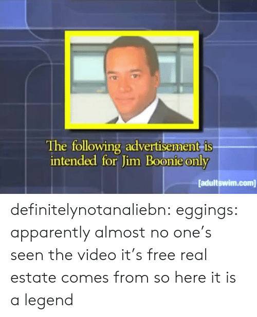 Apparently, Target, and Tumblr: The following advertisement is  intended for Jim Boonie only  adultswim.com definitelynotanaliebn: eggings:  apparently almost no one's seen the video it's free real estate comes from so here it is  a legend