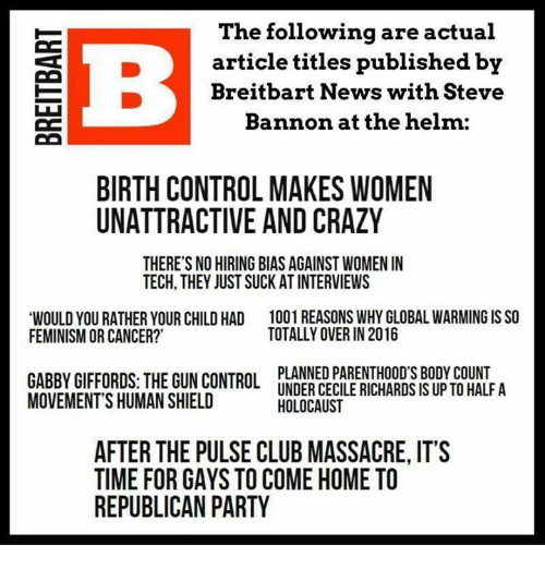 The Following Are Actual E Article Titles Published by Breitbart