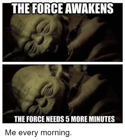 Force, More, and Morning: THE FORCE AWAKENS  THE FORCE NEEDS 5 MORE MINUTES Me every morning.