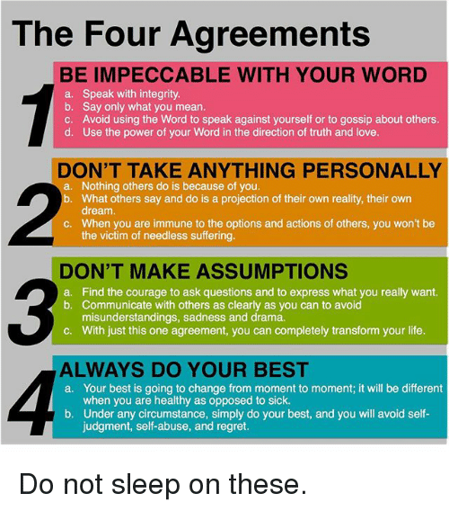 The Four Agreements Be Impeccable With Your Word A B C D Speak With