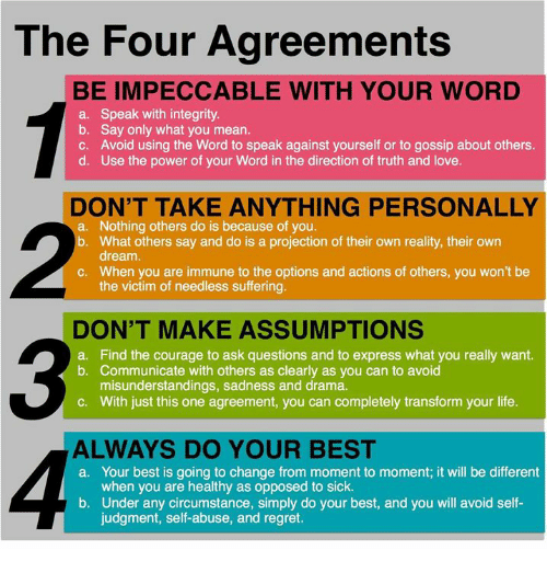 The Four Agreements Be Impeccable With Your Word A Speak With