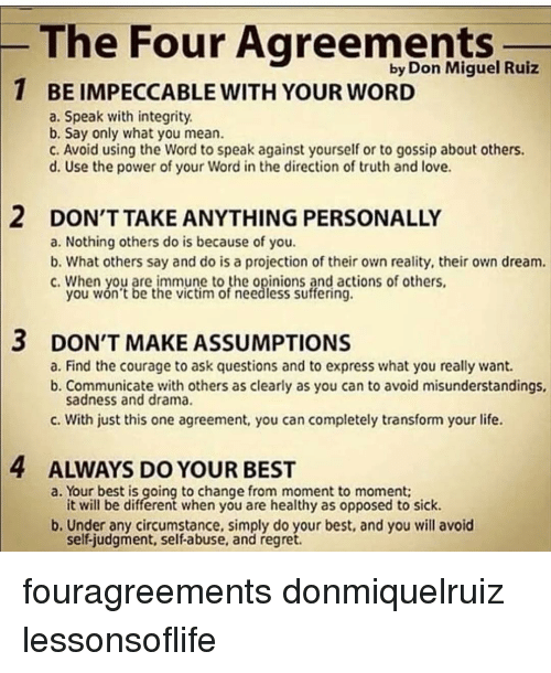 The Four Agreements By Don Miguel Ruiz 1 Beimpeccablewith Your Word