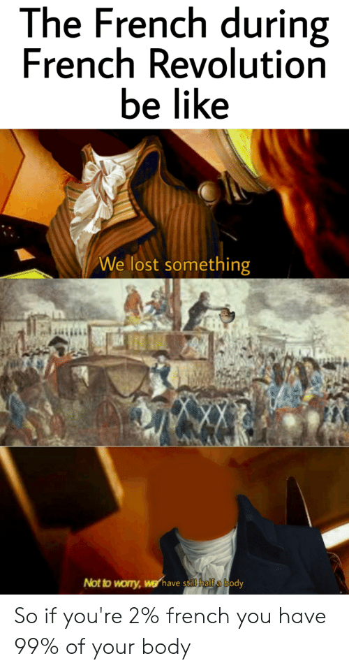 Be Like, Lost, and History: The French during  French Revolution  be like  We lost something  Not to worry,werhave still half a body So if you're 2% french you have 99% of your body