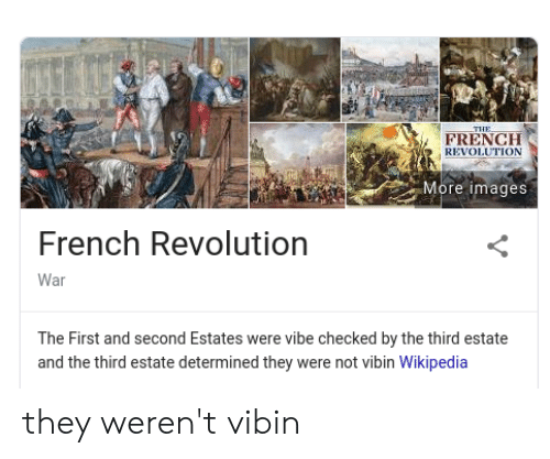 Wikipedia, History, and Images: THE  FRENCH  REVOLUTION  More images  French Revolution  War  The First and second Estates were vibe checked by the third estate  and the third estate determined they were not vibin Wikipedia they weren't vibin