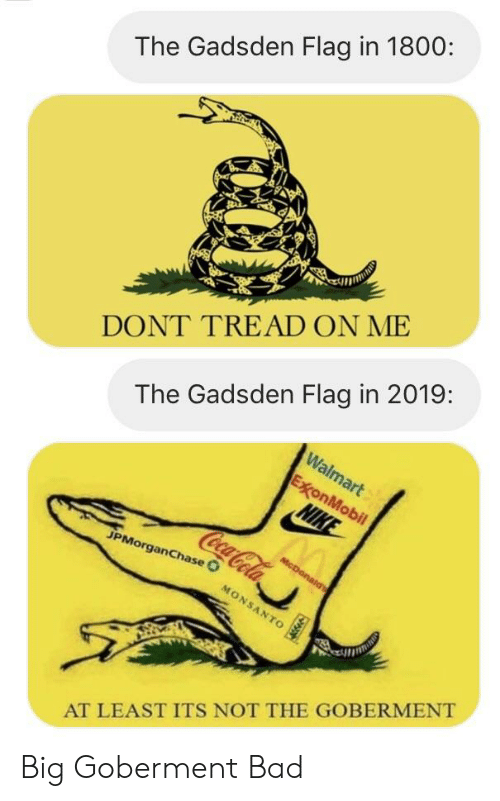 Bad, Politics, and Chase: The Gadsden Flag in 1800:  DONT TREAD ON ME  The Gadsden Flag in 2019:  JPMorgan  chase  AT LEAST ITS NOT THE GOBERMENT Big Goberment Bad