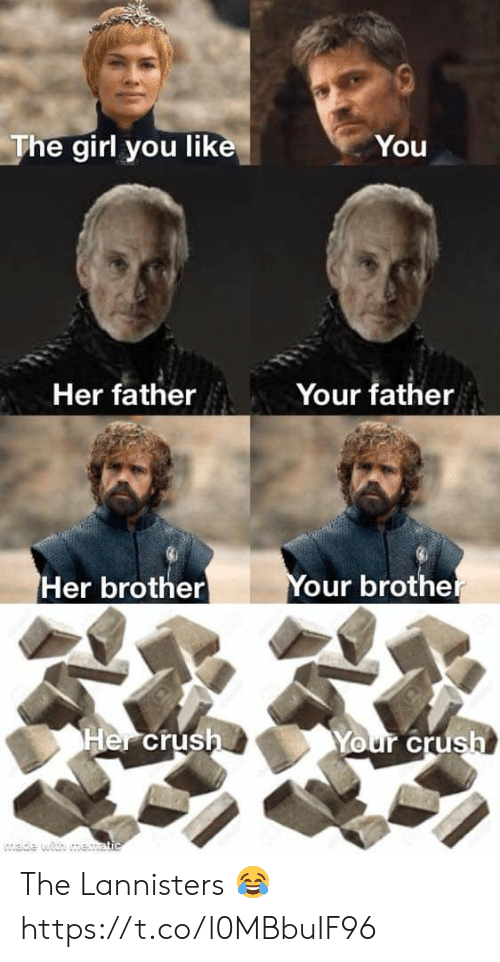 Crush, Girl, and Her: The girl you like  You  Your father  Her father  Your brother  Her brother  Her crush  Your crush  wade with me.atic The Lannisters 😂 https://t.co/l0MBbuIF96