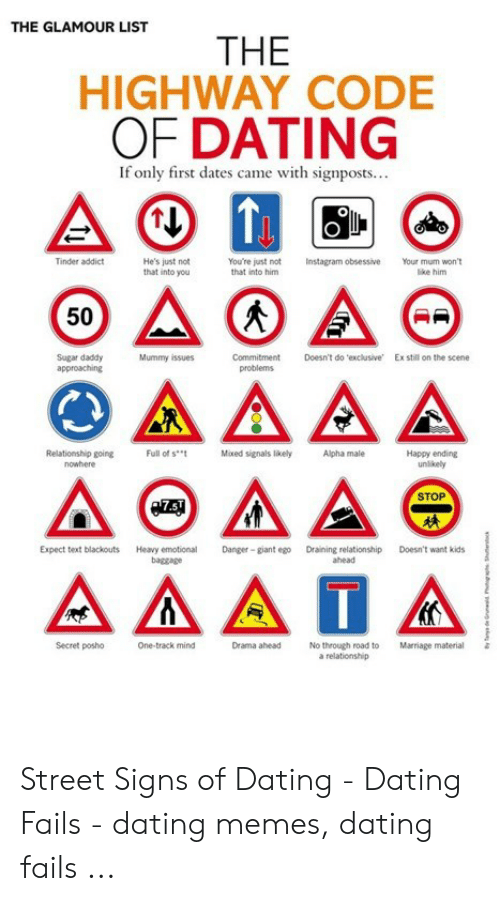 The GLAMOUR LIST THE HIGHWAY CODE OF DATING if Only First Dates Came