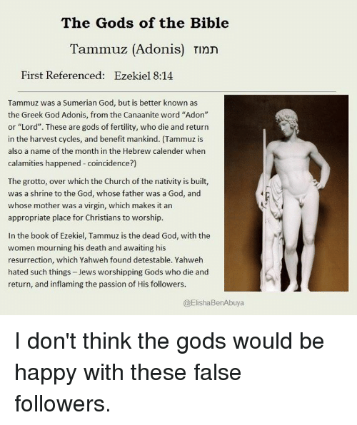 The Gods of the Bible Tammuz Adonis Tinn First Referenced