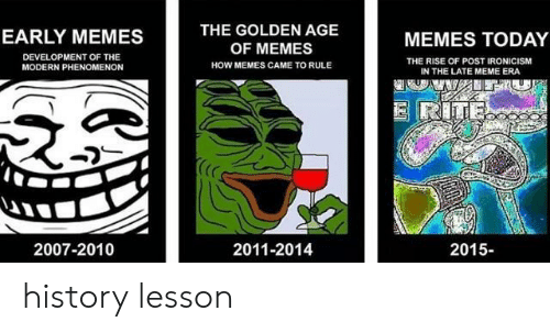 Meme, Memes, and History: THE GOLDEN AGE  OF MEMES  HOW MEMES CAME TO RULE  EARLY MEMES  MEMES TODAY  DEVELOPMENT OF THE  MODERN PHENOMENON  THE RISE OF POST IRONICISM  IN THE LATE MEME ERA  (C  2007-2010  2011-2014  2015- history lesson