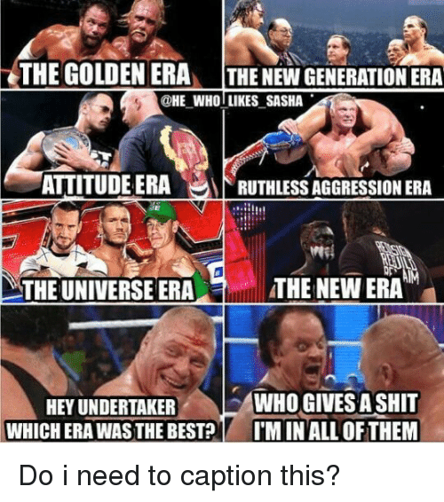Memes, Undertaker, and Ruthless: THE GOLDEN ERAn THE NEW GENERATION ERA  HE WHO LIKES SASHA  ATTITUDE ERA  RUTHLESS AGGRESSION ERA  THE NEW ERA  MTHE UNIVERSE ERA  WHO GIVES A SHIT  HEY UNDERTAKER  WHICH ERA WAS THE BEST?  I'MINALLOFTHEM Do i need to caption this?