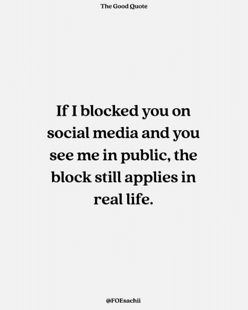 Life, Memes, and Social Media: The Good Quote  If I blocked you on  social media and you  see me in public, the  block still applies in  real life.  @FOEsachii