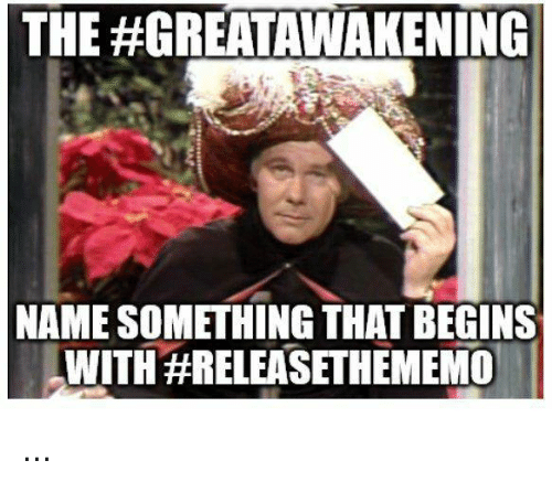 Memes, 🤖, and Name: THE #GREA AWAKENING  NAME SOMETHING THAT BEGINS  WITH ...