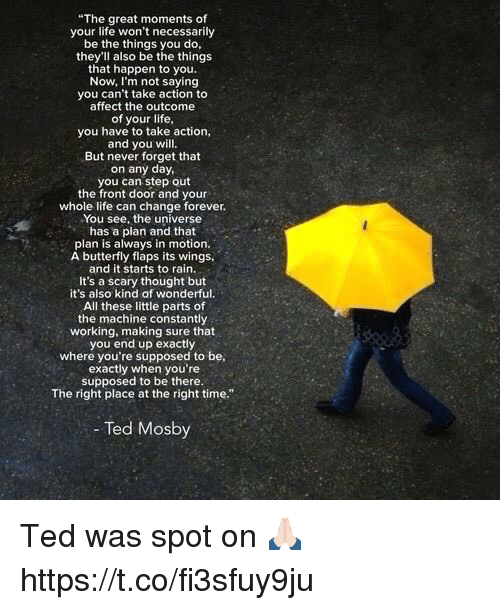 """Life, Memes, and Ted: """"The great moments of  your life won't necessarily  be the things you do,  they'll also be the things  that happen to you.  Now, I'm not saying  you can't take action to  affect the outcome  of your life,  you have to take action,  and you will.  But never forget that  on any day,  you can step out  the front door and your  whole life can change forever.  You see, the universe  has a plan and that  plan is always in motion.  A butterfly flaps its wings,  and it starts to rain.  It's a scary thought but  it's also kind of wonderful.  All these little parts of  the machine constantly  working, making sure that  you end up exactly  where you're supposed to be  exactly when you're  supposed to be there.  The right place at the right time.""""  - Ted Mosby  OS Ted was spot on 🙏🏻 https://t.co/fi3sfuy9ju"""